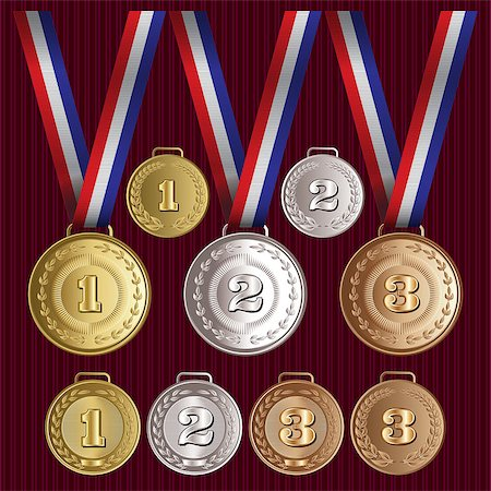 scalable - set of vector patterns medals of gold, silver, bronze Stock Photo - Budget Royalty-Free & Subscription, Code: 400-07896412