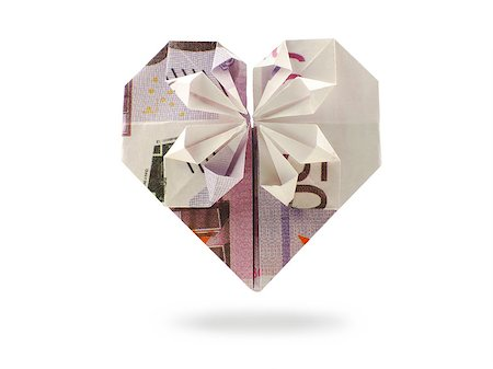 fly heart - origami heart of five hundred banknote Stock Photo - Budget Royalty-Free & Subscription, Code: 400-07897147