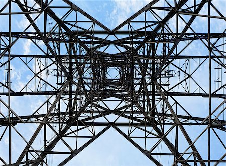 Bottom mesh transmission power towers Stock Photo - Budget Royalty-Free & Subscription, Code: 400-07897805