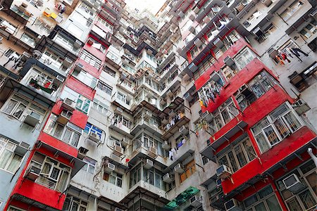 Old apartments in Hong Kong at day Stock Photo - Budget Royalty-Free & Subscription, Code: 400-07898613