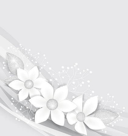 elegant wedding floral graphic - Background with white flowers and silver leaves Stock Photo - Budget Royalty-Free & Subscription, Code: 400-07899106