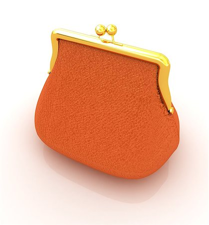 Leather purse on a white background Stock Photo - Budget Royalty-Free & Subscription, Code: 400-07893018