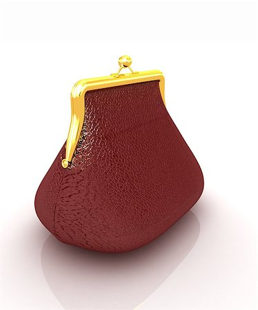 Leather purse on a white background Stock Photo - Budget Royalty-Free & Subscription, Code: 400-07893027