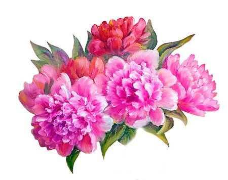 peony art - Peonies in vase, oil painting on canvas Stock Photo - Budget Royalty-Free & Subscription, Code: 400-07893044