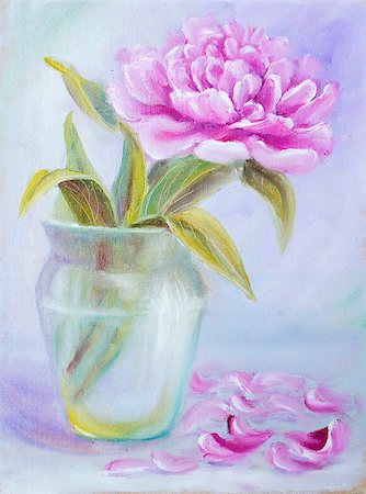 peony art - Peony in vase, oil painting on canvas Stock Photo - Budget Royalty-Free & Subscription, Code: 400-07893049