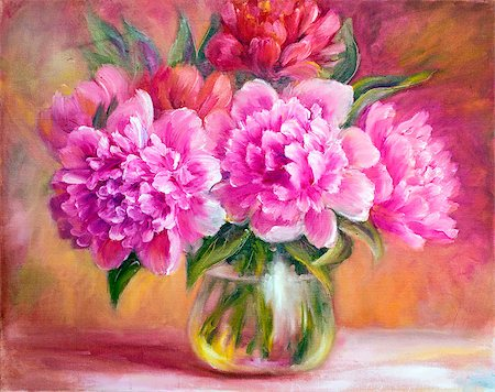 peony art - Peonies in vase, oil painting on canvas Stock Photo - Budget Royalty-Free & Subscription, Code: 400-07893043