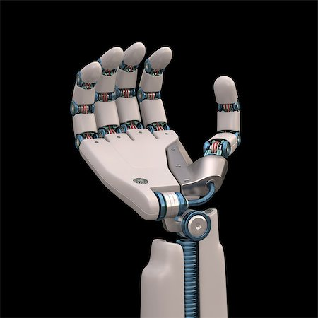 Robotic hand shaped and measures that mimic the human skeleton. Clipping path included. Stock Photo - Budget Royalty-Free & Subscription, Code: 400-07893626