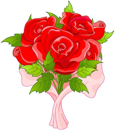 dozen roses - Illustration of bouquet of roses Stock Photo - Budget Royalty-Free & Subscription, Code: 400-07904297