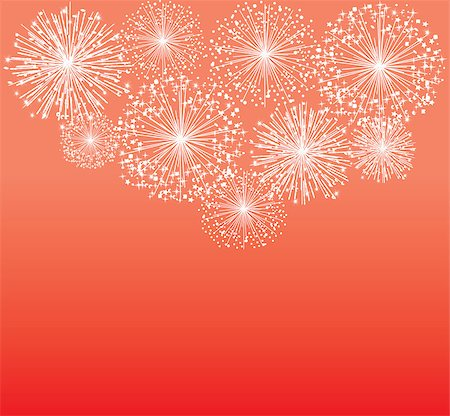 fireworks illustrations - vector white fireworks on red background Stock Photo - Budget Royalty-Free & Subscription, Code: 400-07900297