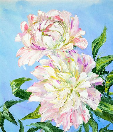 painting a peony bud - Peonies, oil painting on canvas Stock Photo - Budget Royalty-Free & Subscription, Code: 400-07902792