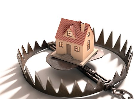 Bear trap with a house inside. Concept of mortgage, pledge and property financing. Stock Photo - Budget Royalty-Free & Subscription, Code: 400-07902846