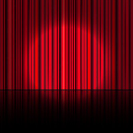 Spotlight on stage curtain. Vector. Stock Photo - Budget Royalty-Free & Subscription, Code: 400-07914247