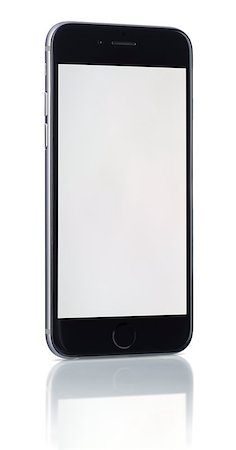 new Smartphone with blank screen on white background Stock Photo - Budget Royalty-Free & Subscription, Code: 400-07917090