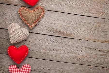 Valentines day background with toy hearts and copy space Stock Photo - Budget Royalty-Free & Subscription, Code: 400-07919386