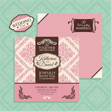 elegant wedding floral graphic - Floral wedding card vector illustration Stock Photo - Budget Royalty-Free & Subscription, Code: 400-07919408