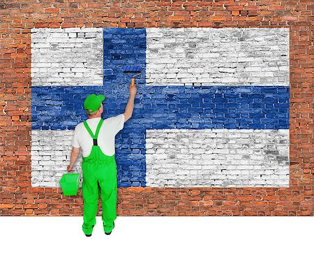 House painter covers brick wall with flag of Finland Stock Photo - Budget Royalty-Free & Subscription, Code: 400-07924421
