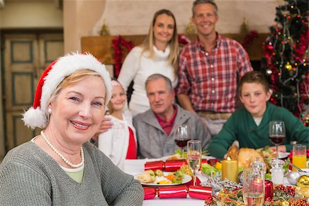 Cute grandmother in santa hat posing in front of her family at home in the living room Stock Photo - Budget Royalty-Free & Subscription, Code: 400-07928283
