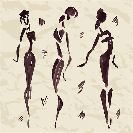 Figures of african dancers. Hand drawn Vector Illustration. Stock Photo - Budget Royalty-Free & Subscription, Code: 400-07923124