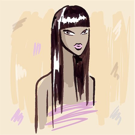 Beautiful Woman Portrait. Fashion girl. Hand drawn vector Illustration. Stock Photo - Budget Royalty-Free & Subscription, Code: 400-07923129