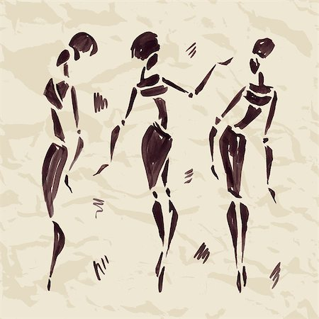 Figures of african dancers. Hand drawn Vector Illustration. Stock Photo - Budget Royalty-Free & Subscription, Code: 400-07923123