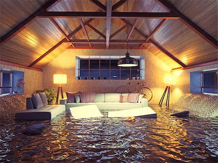 flooded homes - flooding  modern interior loft in the evening. 3d concept design. Stock Photo - Budget Royalty-Free & Subscription, Code: 400-07936389