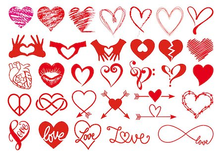 Heart, love, Valentines day, big set of vector graphic design elements Stock Photo - Budget Royalty-Free & Subscription, Code: 400-07933077