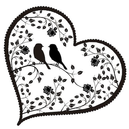 stencils - EPS file of  heart with birds and flowers Stock Photo - Budget Royalty-Free & Subscription, Code: 400-07933095