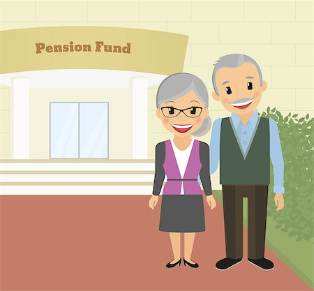 Happy grandparents standing near pension fund. Vector illustration Stock Photo - Budget Royalty-Free & Subscription, Code: 400-07954636