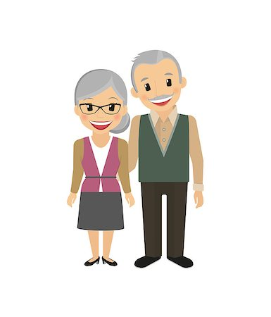 Happy grandparents isolated on white vector illustration Stock Photo - Budget Royalty-Free & Subscription, Code: 400-07954637