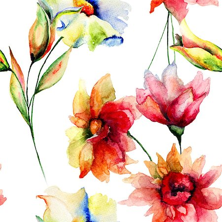 peonies background - Seamless wallpaper with Colorful flowers, watercolor illustration Stock Photo - Budget Royalty-Free & Subscription, Code: 400-07954802