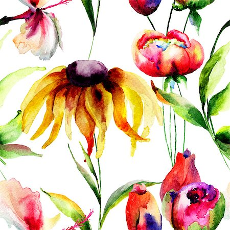 peony backgrounds - Seamless wallpaper with spring flowers, Watercolor painting Stock Photo - Budget Royalty-Free & Subscription, Code: 400-07954818