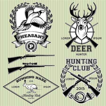 deer hunt - set of vector emblems with a deer, hare, pheasant for hunting Stock Photo - Budget Royalty-Free & Subscription, Code: 400-07955047