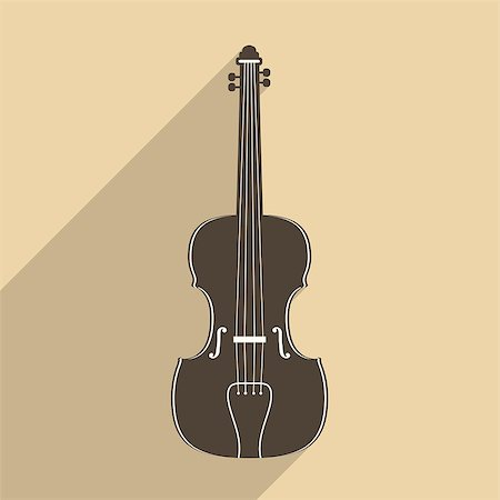 silhouette musical symbols - Violin icon with long shadow, flat design, vector eps10 illustration Stock Photo - Budget Royalty-Free & Subscription, Code: 400-07955152