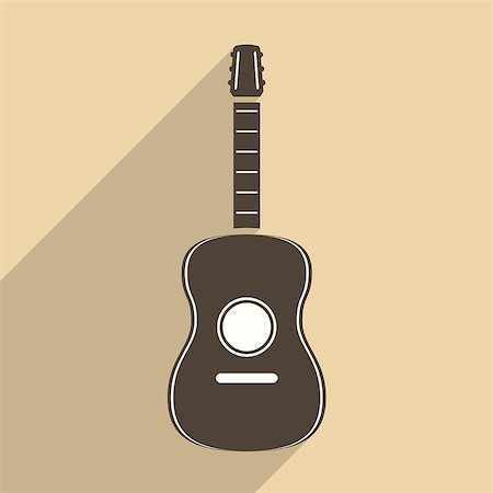 silhouette musical symbols - Guitar icon, flat design, vector eps10 illustration Stock Photo - Budget Royalty-Free & Subscription, Code: 400-07955172