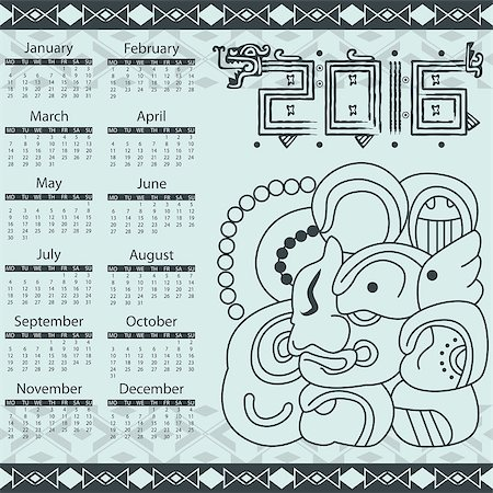 Vector calendar 2016 in aztec style Stock Photo - Budget Royalty-Free & Subscription, Code: 400-07956257