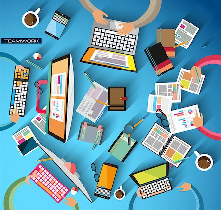Ideal Workspace for teamwork and brainsotrming with Flat style. A lot of design elements are included: computers, mobile devices, desk supplies, pencil,coffee mug, sheeets,documents and so on Stock Photo - Budget Royalty-Free & Subscription, Code: 400-07951094