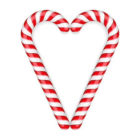 red stick candy - Candy canes heart, vector eps10 illustration Stock Photo - Budget Royalty-Free & Subscription, Code: 400-07952791