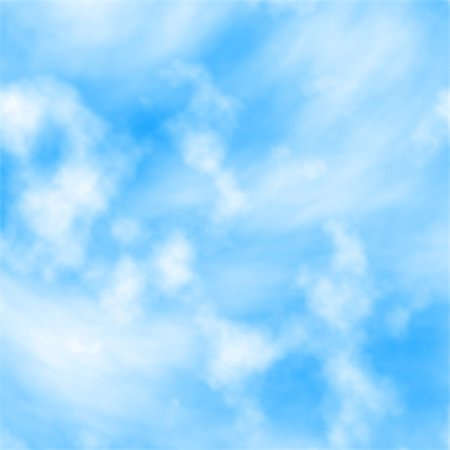 Editable vector illustration of two layers of white clouds on a blue sky created with a gradient mesh Stock Photo - Budget Royalty-Free & Subscription, Code: 400-07953184
