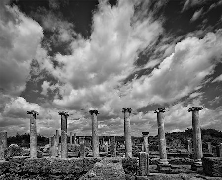 Clouds over the ancient city of Perga in Turkey in black and white Stock Photo - Budget Royalty-Free & Subscription, Code: 400-07953394