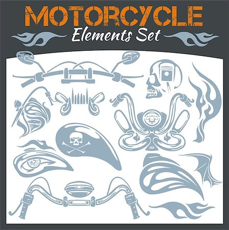 Motorcycle elements for emblem - vector set. Stock Photo - Budget Royalty-Free & Subscription, Code: 400-07953519