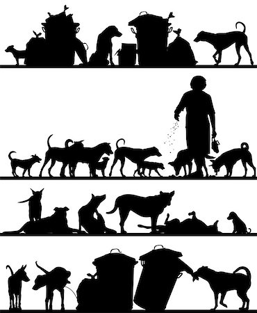 Set of editable vector foreground silhouettes of street dogs in Bangkok with all figures as separate objects Stock Photo - Budget Royalty-Free & Subscription, Code: 400-07975255