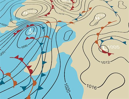 Editable vector illustration of an angled generic weather system map Stock Photo - Budget Royalty-Free & Subscription, Code: 400-07975258