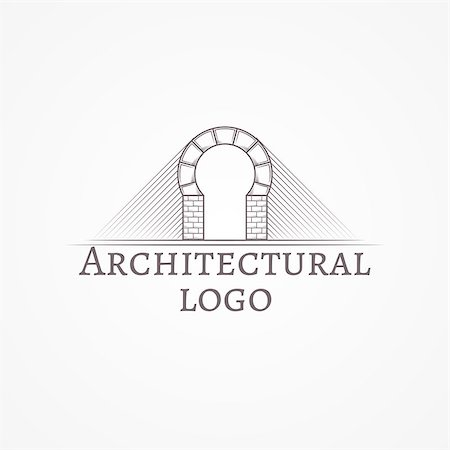 Design element with gray brick round arch line style icon with sample text for some architecture business on white background. Vector illustration Stock Photo - Budget Royalty-Free & Subscription, Code: 400-07976806