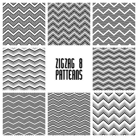 Zig zag black and white geometric seamless patterns set, vector backgrounds collection Stock Photo - Budget Royalty-Free & Subscription, Code: 400-07978234
