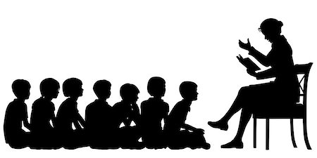 EPS8 editable vector silhouettes of a female teacher reading a story to her pupils with all figures as separate objects Stock Photo - Budget Royalty-Free & Subscription, Code: 400-07979211