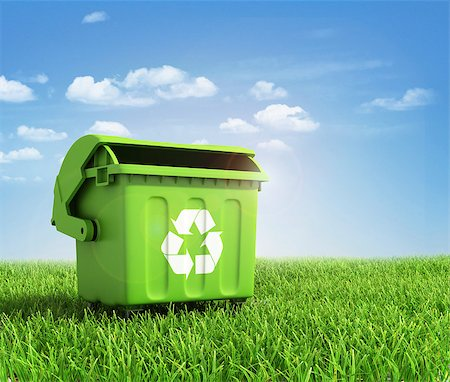Green plastic trash recycling container ecology concept, with landscape background. Stock Photo - Budget Royalty-Free & Subscription, Code: 400-07979817