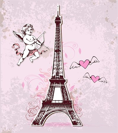 Vintage vector card with Eiffel Tower and cupid for Valentine's Day Stock Photo - Budget Royalty-Free & Subscription, Code: 400-07979920