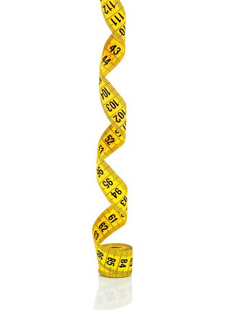 Yellow measure tape. Isolated on white background Stock Photo - Budget Royalty-Free & Subscription, Code: 400-07971724