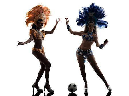 two women samba dancer playing soccer silhouette on white background Stock Photo - Budget Royalty-Free & Subscription, Code: 400-07973332