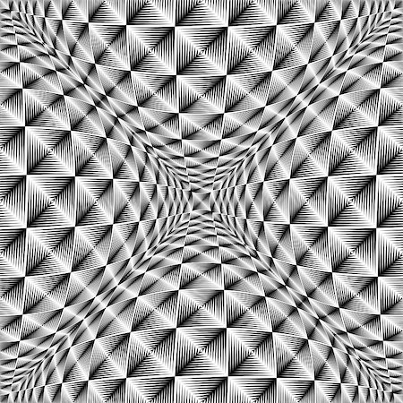 simsearch:400-04476890,k - Design warped square volumetric pattern. Abstract geometric monochrome background. Vector-art illustration. No gradient Stock Photo - Budget Royalty-Free & Subscription, Code: 400-07984439